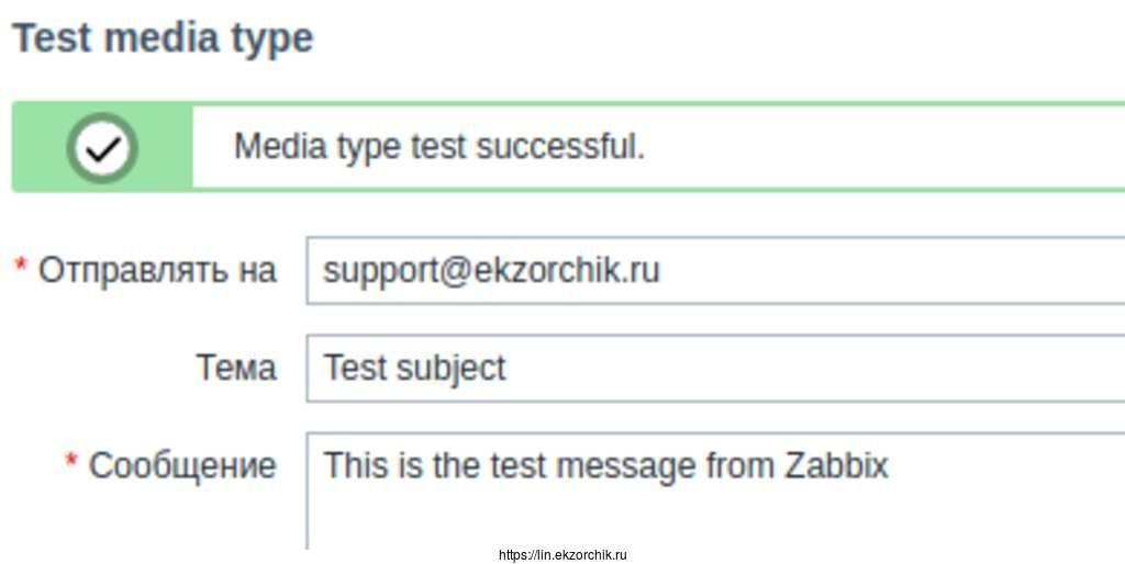 Тестовое сообщение успешно отправлено.