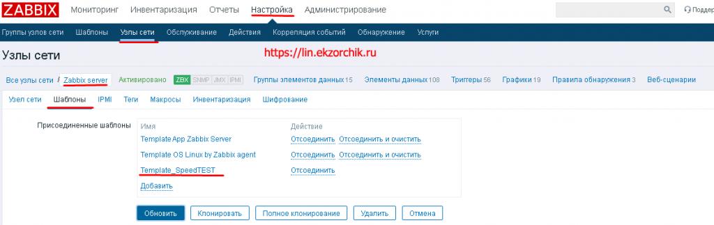 Привязанные шаблоны к хосту Zabbix Server